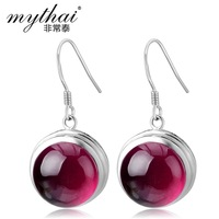 Very Thai authentic 925 silver 2013 new red corundum earrings temperament retro women