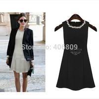 2014 European and American big Slim sleeveless summer dress haute couture diamond round neck skirt joining consignment