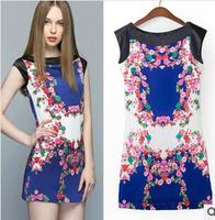 2014 New summer women Chiffon Print Dress Casual Flowers vintage blue mini woman clothes roupas femininas vestido de festa