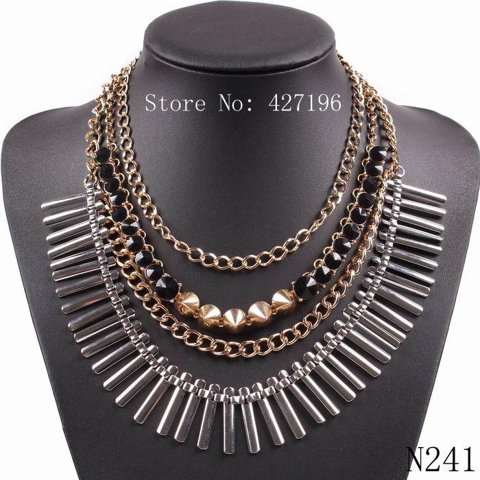 Hot Sale 2015 High Quality Personalized Big Chunky Fashion Women Resin Pendant Geometry Tassel Necklace(China (Mainland))