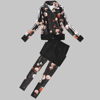 European and American three-piece suit Autumn Wallace star print blouses with casual pants + skirt +