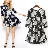 2014 New Vintage Women Slim Crew Neck Sweet Floral Print Mini Pleated Dress Ball Gown