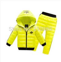 Retail 2014 Winter Children boys girls winter clothing suit set baby child Sports warm down jacket+pants sets suits