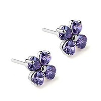 Luxury Austria Crystal,Clover Earring Jewelry,925 Sterling Silver on Platinum Plated,Fashion Jewelry Supplier OE80