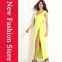 Free shipping sexy women dress 2014 New Fashion Sexy Unconventional Lemon Maxi Long Dress LC6281 M L XL