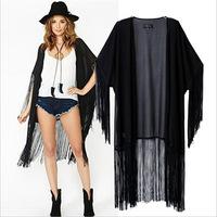 New fall 2014 European and American fashion solid color long tassel shawl loose kimono jacket free shipping skt066