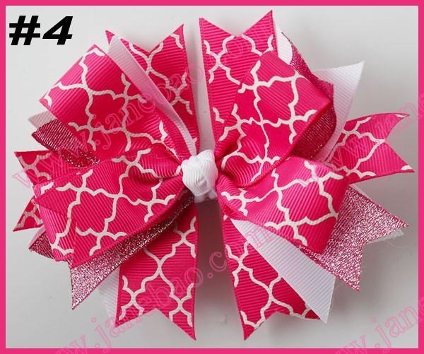 free shipping 2014 newest 145pcs 4.5'' spike hair bows with chevron ribbon and quatrefoil ribbon hair clips(China (Mainland))