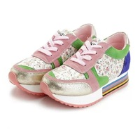 T709 New Korean Hot Sale! Brand Genuine Leather Sequin Women Sneakers Fashion Flower Print Shoes Woman