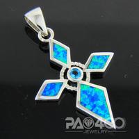 Blue Aquamarine Pacific Blue Fire Opal Silver Fashion  Jewelry Women & Men Pendant OCP0167LD  Wholesale & Retail