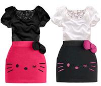 Hot Summer 2014 New Girls Dress Suits Hello Kitty Kids Children Suit Set T-shirt+Skirt 2pcs/set Black/White