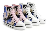 T3106  Hot Sales New 2014 Camouflage Beaded Sequins Wedge Sneakers Casual Women's Elevator Increasing Shoes For Women