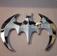 "3.5"" 3D Bat Shaped Car Emblem Badge Metal Sticker Silver B35 for  toyota vw golf hyundai kia ect."