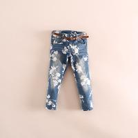 fashion girl flower print jeans denim pants with belt 2 color