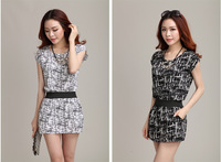 2014 new fashion Summer casual dress for women O neck short sleeves women's pattern dresses