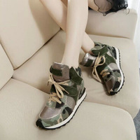 Y609 Genuine Leather Shoes Women Fashion Camouflage Lace Up Casual Breathable Women Sneakers Shoes