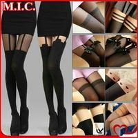 New 2014 Fashion Brand Japanese Harajuku Garter Stockings Sexy Women Pantyhose Mock Suspender Nylon Sheer Tights 23 colors WX009