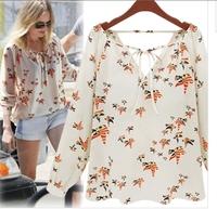 New 2014 bird printed chiffon blouse V-neck long sleeves vintage dudalina shirt quality brand women designer tops blusas W4357