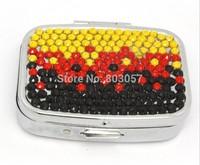 2014 Hot Free shipping(50pcs/lot) Wholesale Fashion Square gradient color diamante pill box cute pill case