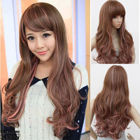 Wig long fluffy long straight hair qi girls bangs repair elegant Auburn wigs free shipping