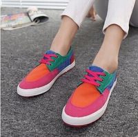 2014 New Hot Summer Candy Color Woman Shoes Korean Low Color Matching Canvas  Shoes  Anti-slip Board Shoes  2 Colors