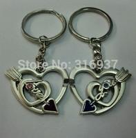 New Couple Arrow Heart Shape Keychains Nice Present Zinc Alloy Key Ring For Lover 2 PCS/ Pair  Keyring