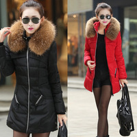 New 2014 jacket winter coat thicken Slim female raccoon fur collar and long coat women parka winter coat plus size S-4XL ECO-45