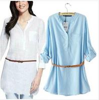 women shirts,casual white blue women linen blouse with free belt,European brand shirts for women,long blouse,free shipping,L0740
