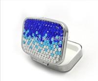 2014 Hot Free shipping(50pcs/lot) Wholesale Fashion Square gradient blue diamond pill box cute pill case