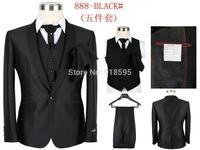 2014 New Fashion leisure Suits Men's Dress Suit (jacket + Pants + Vest + Tie + Scarf) Free Shipping Promotion
