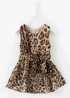 Top Quality Dovetail Leopard Chiffon Girls Dress Kids Children Princess Dress Party Dress