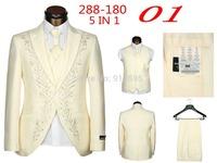 2014 New Men's Fashion Wedding Suit (jacket + Pants + Vest + Tie + Scarf) Free Shipping Promotion