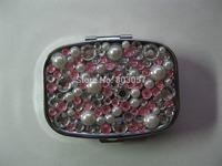 2014 Hot Free shipping(50pcs/lot) Wholesale Fashion Square jeweled pill box cute pill case