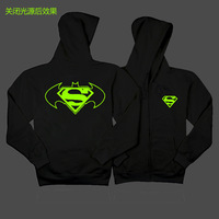 The new 2014 package mail noctilucent fleece Hipster necessary Black zipper fleece batman superman war to winter