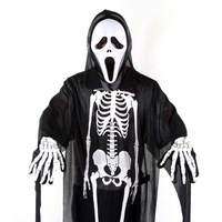 Masquerade costumes halloween clothes skull skeleton child mask of terror(include mask .cloth and printed glove)