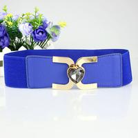 Free shipping New arrive Fashion metal buckle love hearts crystal wide elastic belt waistband Femal ceinture wholesale