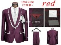 2014 New Men's Fashion leisure Suit Sports Suit (jacket + Pants + Vest + Tie + Scarf) Free Shipping Promotion