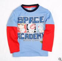2014 autunm pig tshirt boy tshirt kids cotton long sleeve fashion cartoon tshirt boy sapce top wear 5pcs/lot