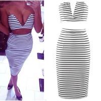 2014 Fashion V-neck Knee-length Women Sexy Dress Striped Party