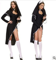 Hot! free shipping 2014 new arrival Halloween western nun cosplay costumes, Halloween masquerade vintage women priest dress