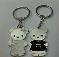 New Couple Black and white Bear Keychains Nice Present Zinc Alloy Key Ring For Lover 2 PCS/ Pair  Keyring
