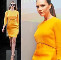 Free shipping 2014 autumn and winter women's one-piece dress fashion star three quarter sleeve slim elegant clothing dresses