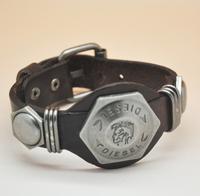 """Hotsale Rock Punk Style Cool """"Brave"""" Men Woman Genuine Leather Bracelet Hotsale Kull Bracelets"""