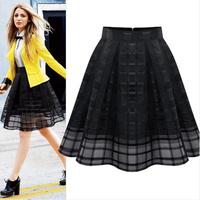 (FST006) 2014 Summer Women's Organza Chiffon Skirt Fashion Plus Size Pleated Skirt Female Puff Skirt