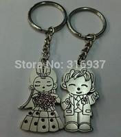 New Couple Wedding Nice Present Zinc Alloy Key Ring For Lover 2 PCS/ Pair  Keyring