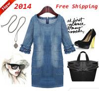 2014 Summer New European and American women's summer loose code cowboy dress women's dress code