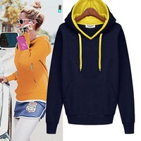 European Station Brief Pure Color Croduroy Hoodies Sport Style Pockets Decorated Thick Good Quality Female Sweatshirts 632