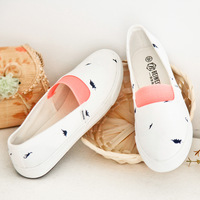 Simple style small fresh canvas summer girls slip-on flat casual soft loafers size 39 free shipping