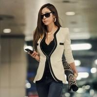 2014 New Fashion Winter Women Slim Blazer Coat Casual Jackets Long Sleeve V-Neck Black White One Button Suit OL Outerwear KR183