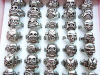 20pcs Alloy Skull Ring Men's Ring