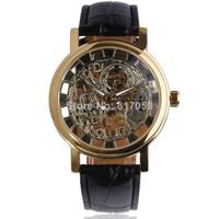 new 2014 fashion skeleton ultra thin business clock mechanical hand wind men male wrist watch 2360